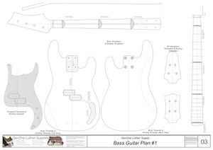 Solid Body Electric Bass Guitar Plan #1 template set