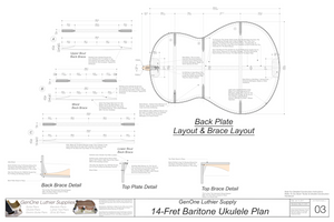 Baratone 14 Ukulele Plans Back Layout & Back Brace Layouts