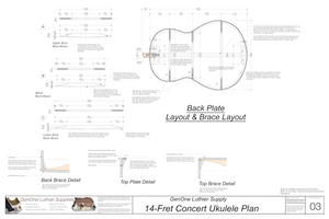 Concert 14 Ukulele Plans Back Layout & Back Brace Layouts