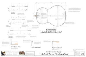 Tenor 14 Ukulele Plans Back Layout & Back Brace Layouts