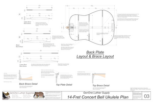 Concert 14 Bell Ukulele Plans Back Layout & Back Brace Layouts