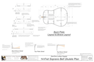 Soprano 14 Bell Ukulele Plans Back Layout & Back Brace Layouts