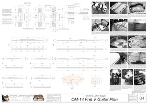 OM-14 Fret V Brace Top Brace Layouts