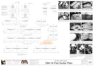 OM-14 Fret Guitar Plans Top Brace Layouts