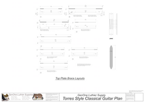 Classical Guitar Plans - Torres Bracing Top Brace Layouts