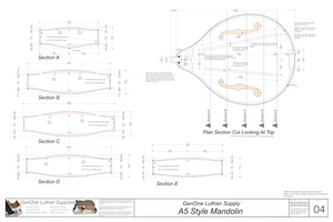 A5 Mandolin Plan Sections, Body Cross Sections
