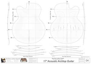 Benedetto 17 Archtop Guitar Plans, Contoured Back & Top Layouts, Back & Top Sections