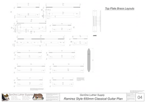 Classical Guitar Plans Ramirez Bracing 650mm Top Brace Layouts