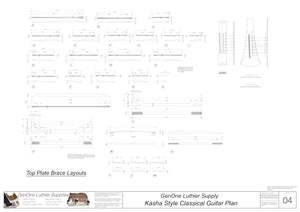 Classical Guitar Plans - Kasha Bracing Top Brace Layouts