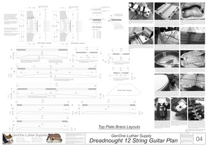 Dreadnought 12-String Guitar Plans Guitar Plans Top Brace Layouts