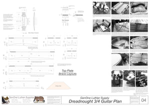 Dreadnought 3/4 Guitar Plans Top Brace Layouts