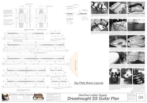 Dreadnought SS Guitar Plans Top Brace Layouts