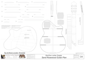 Electric Nylon Guitar Plans - Sand Rosewood, Template Sheet