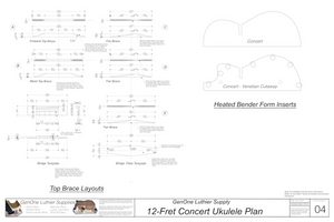 Concert 12 Ukulele Plans Top Brace Layouts