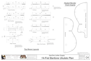 Baratone 14 Ukulele Plans Top Brace Layouts