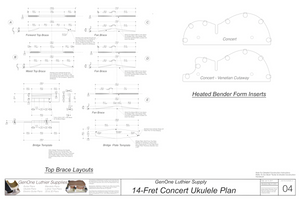 Concert 14 Ukulele Plans Top Brace Layouts