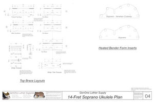 Soprano 14 Ukulele Plans Top Brace Layouts