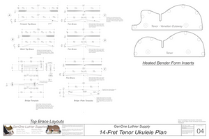 Tenor 14 Ukulele Plans Top Brace Layouts