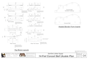 Concert 14 Bell Ukulele Plans Top Brace Layouts