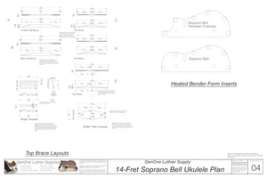 Soprano 14 Bell Ukulele Plans Top Brace Layouts