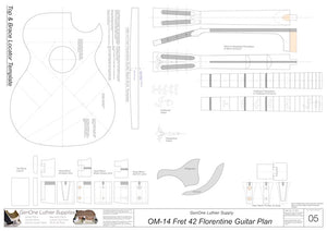 OM 12-Fret 42 Florentine Guitar Plan, Template Sheet
