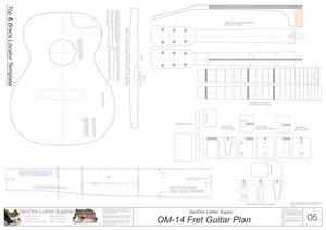 OM-14 Fret Guitar Plans Template Sheet