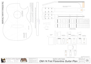 OM 14-Fret Florentine Guitar Plans Template Sheet