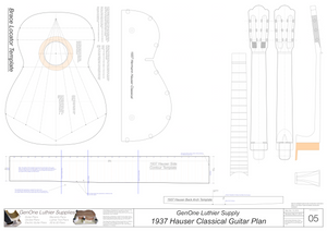 1937 Hermann Hauser Guitar Plans Template Sheet