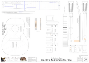00-28vs 14-Fret Guitar Plans Template Sheet