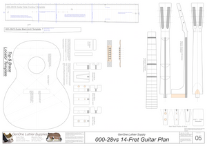 000-28vs 14 Fret Guitar Plans Guitar Plans Template Sheet