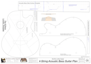 4-String Acoustic Bass Guitar Plans template sheet