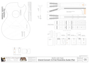 Grand Concert 12 Fret Florentine Guitar Plans Template Sheet