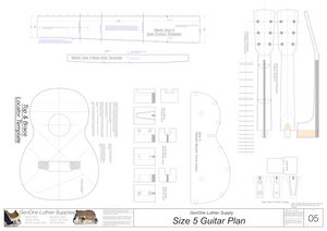 Size 5 Guitar Plans Template Sheet