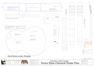 Classical Guitar Plans - Torres Bracing Template Sheet