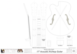 Benedetto 17 Archtop Guitar Plans, Template Sheet