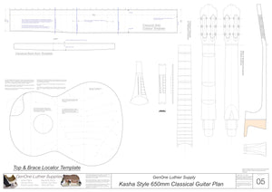 Classical Guitar Plans - Kasha Bracing 650mm Template Sheet