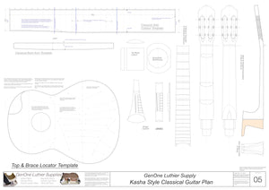 Classical Guitar Plans - Kasha Bracing Template Sheet