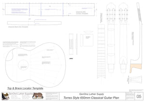 Classical Guitar Plans - Torres Bracing 650mm Template Sheet
