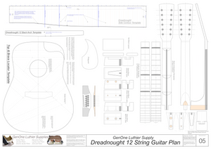 Dreadnought 12-String Guitar Plans Guitar Plans Template Sheet