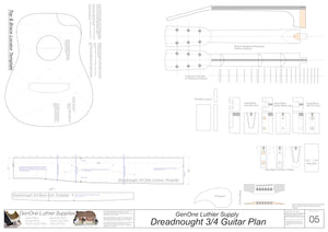 Dreadnought 3/4 Guitar Plans Template Sheet