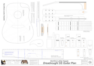 Dreadnought SS Guitar Plans Template Sheet