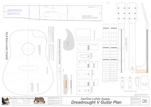 Dreadnought V Brace Guitar Plans Guitar Plans Template Sheet