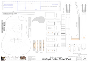 Collins DS2H Guitar Plans Template Sheet