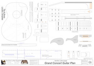 Grand Concert Guitar Plans Template Sheet