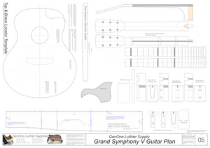 Grand Symphony V-Brace Guitar Plans Guitar Plans Template Sheet