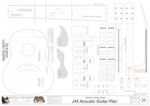 J45 Guitar Plans Template Sheet
