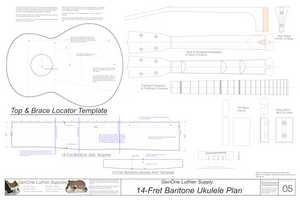 Baratone 14 Ukulele Plans Template Sheet