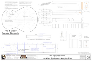 Baritone 14 Kasha Braced Ukulele Plans Template Sheet