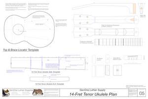 Tenor 14 Ukulele Plans Template Sheet
