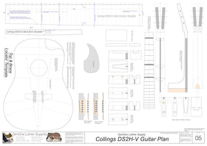 Collings DS2H V-Brace Guitar, Template Sheet